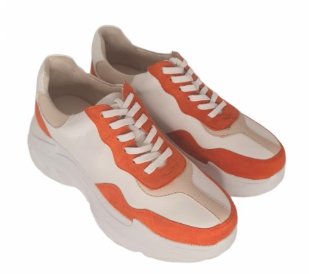 Orange, hvit og creme chunky sneakers